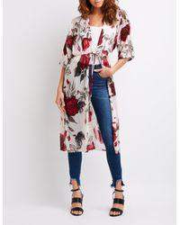 Charlotte Russe - Multicolor Floral Tie Front Kimono - Lyst