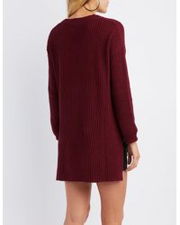 Charlotte Russe - Red Shaker Stitch Tunic Sweater - Lyst