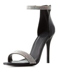 Charlotte Russe - Black Embellished Two-piece Dress Sandals - Lyst