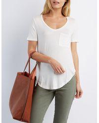 97566e877 Lyst - Charlotte Russe V-neck Boyfriend Pocket Tee in White