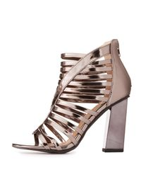 68acd4b52f5d Lyst - Charlotte Russe Metallic Caged Block Heel Sandals in Gray