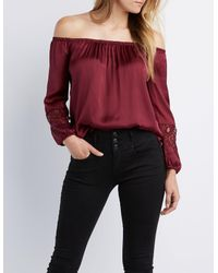 cf93c20ef00e94 Lyst - Charlotte Russe Satin Off-the-shoulder Top in Red