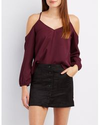 Charlotte Russe - Purple Chiffon Cold Shoulder Top - Lyst