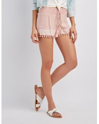 Charlotte Russe - Multicolor Embroidered Smocked Shorts - Lyst