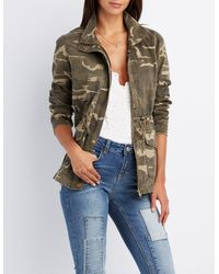 45fd93c9015 Lyst - Charlotte Russe Camo Print Anorak Jacket in Green