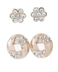 Charlotte Russe - Metallic Embellished Hoop & Stud Earrings - 3 Pack - Lyst