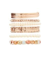 Charlotte Russe - Metallic Crystal & Textured Metal Bangles - Lyst