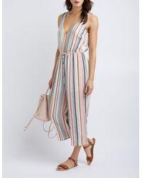 Charlotte Russe - Multicolor Striped Wide-leg Jumpsuit - Lyst