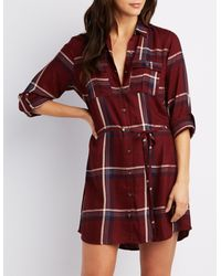 Charlotte Russe - Red Plaid Button-up Shirt Dress - Lyst