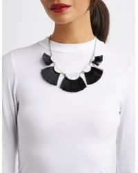 Charlotte Russe - Metallic Marble & Fringe Bib Necklace - Lyst