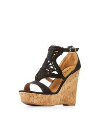 Charlotte Russe - Black Woven Cork Wedge Sandals - Lyst