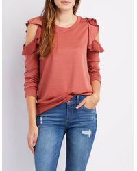 Charlotte Russe - Purple Ruffle-trim Cold Shoulder Sweater - Lyst