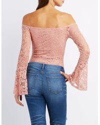 Charlotte Russe - Purple Lace Off-the-shoulder Bodysuit - Lyst
