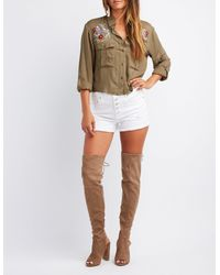 Charlotte Russe - Brown Peep Toe Over-the-knee Boots - Lyst