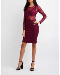 Charlotte Russe - Purple Long Sleeve Lace Bodycon Dress - Lyst
