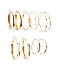 Charlotte Russe - Metallic Textured Hoop Earrings - 6pack - Lyst