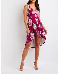 Charlotte Russe - Purple Floral High Low Maxi Dress - Lyst