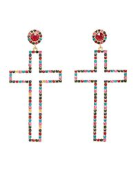 Charlotte Russe - Metallic Crystal Cross Drop Earrings - Lyst