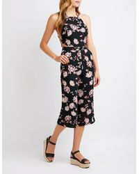 87806bc48a1 Lyst - Charlotte Russe Floral Cut Out Jumpsuit in Black