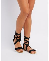 94749461481 Lyst - Charlotte Russe Chiffon Lace-up Sandals in Black