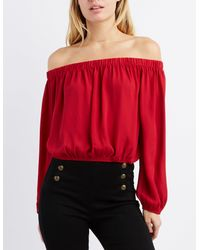 b2a094e8b200de Lyst - Charlotte Russe Off-the-shoulder Open Back Top in Red