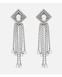 Christopher Kane Metallic Crystal-embellished Silver-tone Earrings