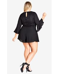 City Chic - Black Trendy Plus Size Tie-waist Romper - Lyst