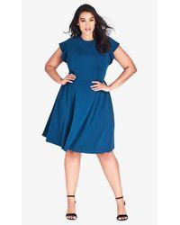 City Chic Blue Trendy Plus Size Ruffled-shoulder A-line Dress