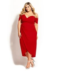 City Chic Red Entwine Maxi Dress
