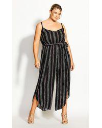 City Chic Black Romance Stripe Jumpsuit