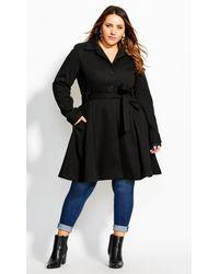 City Chic Black Blushing Belle Coat