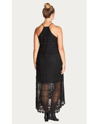 City Chic Black Cool Crochet Dress