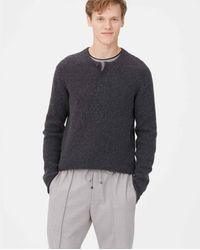 Club Monaco Gray Charcoal Multi Plaited Henley Sweater for men