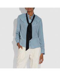 COACH Blue Gathered Collar Blouse