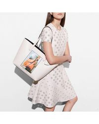 COACH Multicolor Tote In Glovetanned Leather With Archive Print