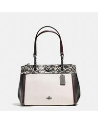 COACH Multicolor Turnlock Edie Carryall In Colorblock Polished Pebble Leather With Snake Trim
