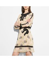 COACH Pink Embroidered Prairie Dog Rose Dress