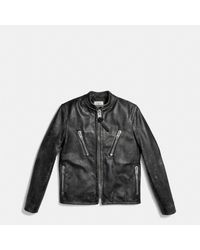 COACH Black Leather Rub Off Racer Jacket for men