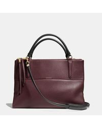 COACH Purple The Borough Bag In Pebbled Leather