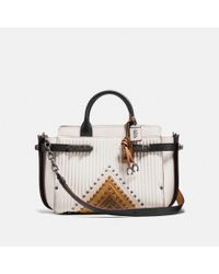 COACH Black Double Swagger With Colorblock Quilting And Rivets