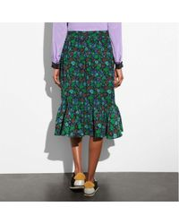 COACH - Green Daisy Print Ruffle Skirt - Lyst