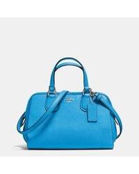 COACH Blue Mini Nolita Satchel In Polished Pebble Leather