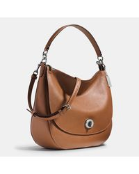 COACH - Blue Turnlock Hobo In Pebble Leather - Lyst