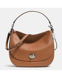 COACH | Brown Turnlock Hobo In Pebble Leather | Lyst