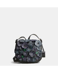 COACH   Black Saddle 23 In Glovetanned Leather With Tea Rose   Lyst