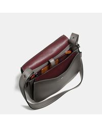 COACH | Gray Saddle Bag In Burnished Glovetanned Leather | Lyst