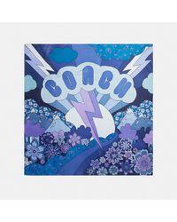 Pañuelo cuadrado de seda Glam Rock COACH de color Blue