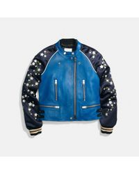 COACH Blue Embroidered Cityscape Souvenir Jacket