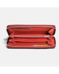 COACH - Orange Accordion Zip Wallet In Croc Embossed Leather - Lyst