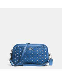 COACH | Blue Crossbody Clutch In Polished Pebble Leather With Ombre Rivets | Lyst
